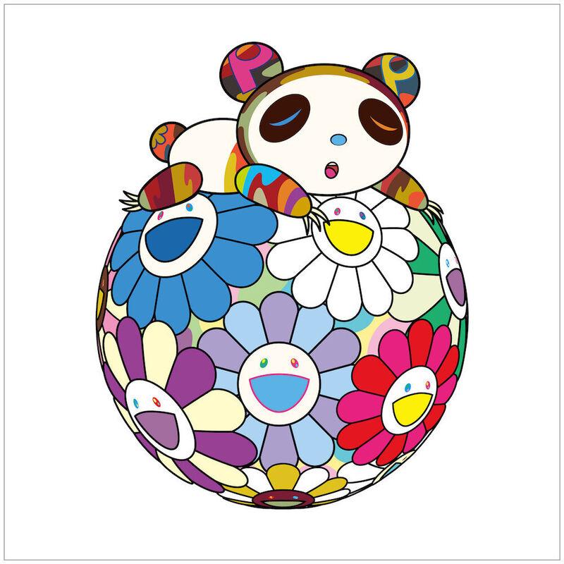 Takashi Murakami, 'ATOP A BALL OF FLOWERS, A PANDA CUB SLEEPS SOUNDLY', 2020, Print, Silkscreen on paper filter, Dope! Gallery