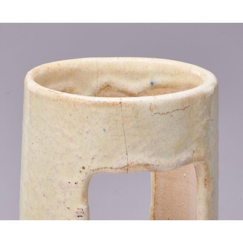 Fulper Pottery, 'Ikebana Vase In Elephant's Breath Glaze And Pitcher With Braided Handle In Flambé Glaze, Flemington, NJ', 1910s-20s, Design/Decorative Art, Rago/Wright/LAMA