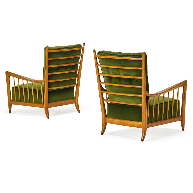 Attributed to Guglielmo Ulrich, 'Pair Of Lounge Chairs, Italy', 1940s, Design/Decorative Art, Stained and Lacquered Wood, Velvet, Rago/Wright