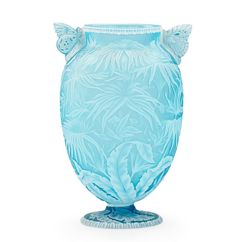 Thomas Webb & Sons, 'Exceptional Vase With Palm Fronds, Ferns  Blossoms And Butterfly Handles, England', Late 19th C., Design/Decorative Art, Acid-Etched And Wheel-Carved Cameo Glass, Rago/Wright