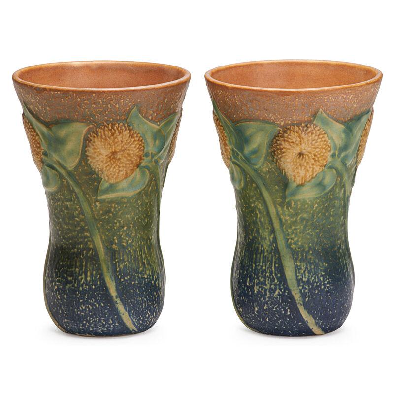 "Roseville Pottery, 'Two 7"" Sunflower Vases, Zanesville, OH', 1930, Design/Decorative Art, Rago/Wright/LAMA"