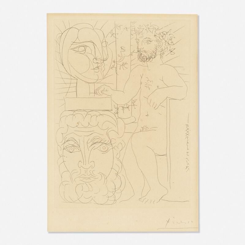 Pablo Picasso, 'Sculpteur et Deux Tetes Sculptees from the Vollard Suite', 1933, Print, Etching on Montval laid paper, Rago/Wright