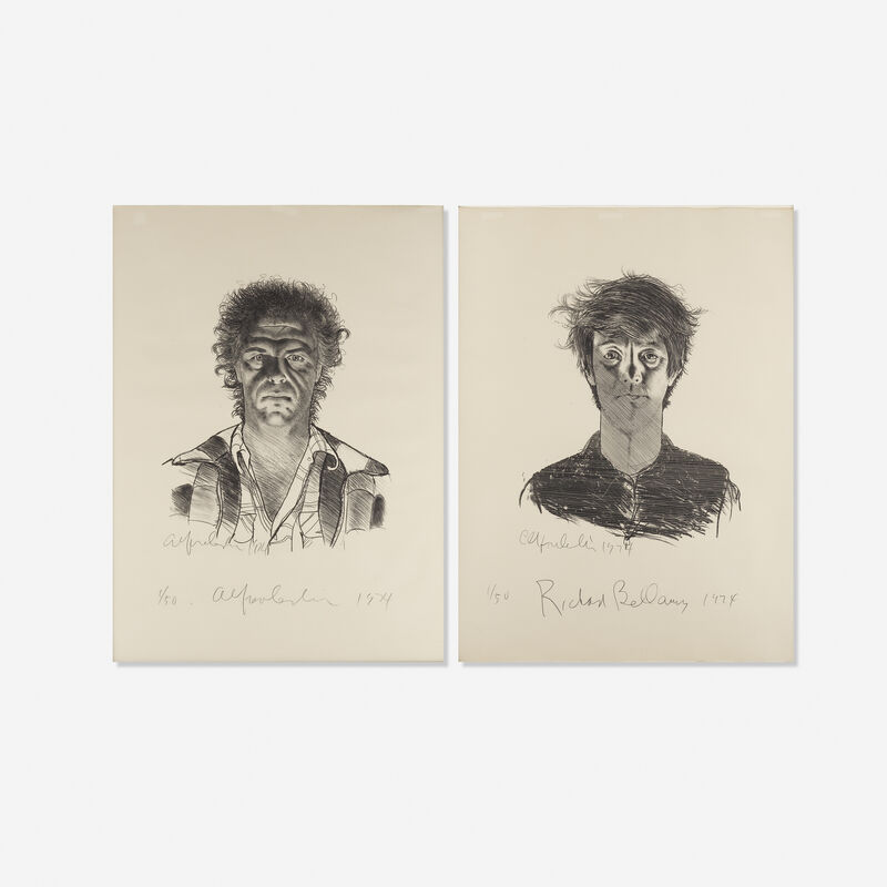 Alfred Leslie, 'Alfred Leslie and Richard Bellamy (two works)', 1974, Print, Lithograph, Rago/Wright