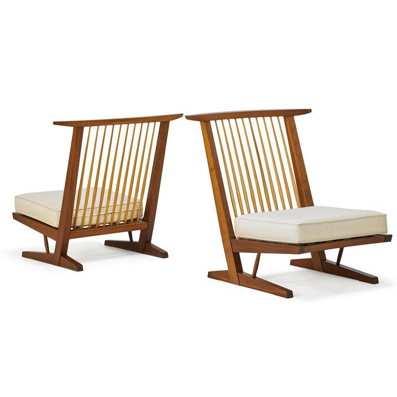 Mira Nakashima, 'Two Conoid Lounge Chairs, New Hope, PA', 1992/93, Design/Decorative Art, Walnut, Hickory, Upholstery, Rago/Wright/LAMA