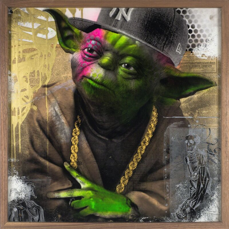 BNS, 'Yoda', 2017, Painting, Acrylic, spray-paint, silkscreen, and vintage newsprint over wood, finished in resin., DETOUR Gallery