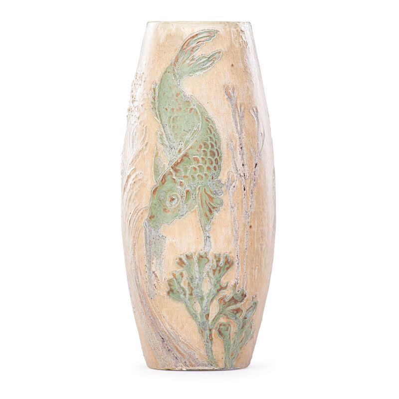 Paul Milet, 'Sevres, Japonesque Vase With Carp And Shrimp, France', ca. 1900, Design/Decorative Art, Glazed Stoneware, Rago/Wright