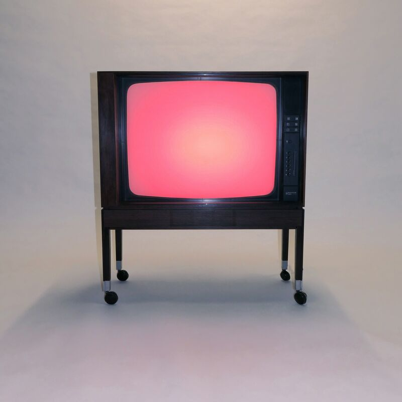 Adam Barker-Mill, 'Colour Television Set', 2016, Installation, BeoVision 3400 (manufactured by Bang & Olufsen, Denmark, 1972), flat screen, Tambour front, LED Lamp, Power/Data Unit, controller, Bartha Contemporary