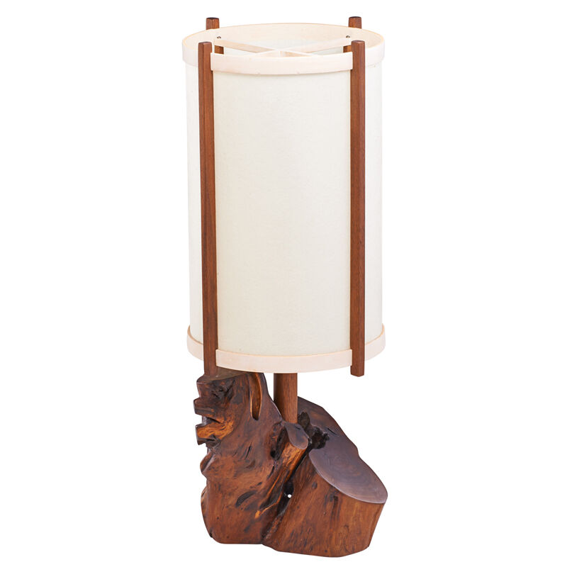 George Nakashima, 'Table Lamp, New Hope, PA', 1984, Design/Decorative Art, Walnut, East Indian Rosewood, Holly, Parchment, Single Socket, Rago/Wright