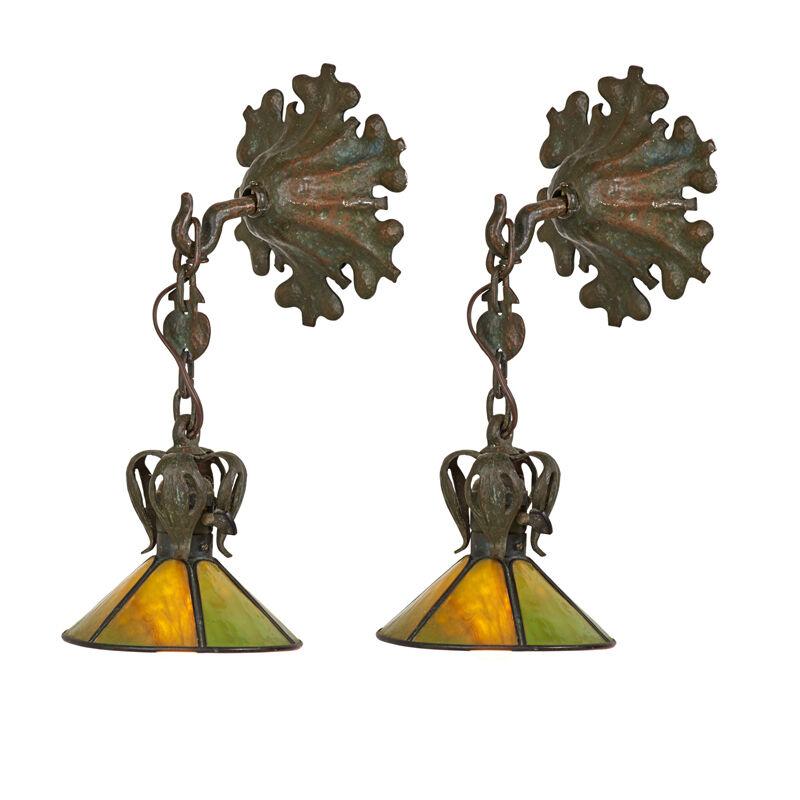 Handel, 'Pair Of Sconces, Meriden, CT', 1910s-20s, Design/Decorative Art, Patinated Metal, Glass Single Sockets, Rago/Wright