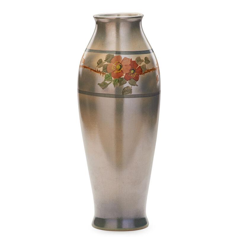 "Roseville Pottery, '16"" Pauleo Vase With Roses, Zanesville, OH', ca. 1915, Design/Decorative Art, Rago/Wright/LAMA"