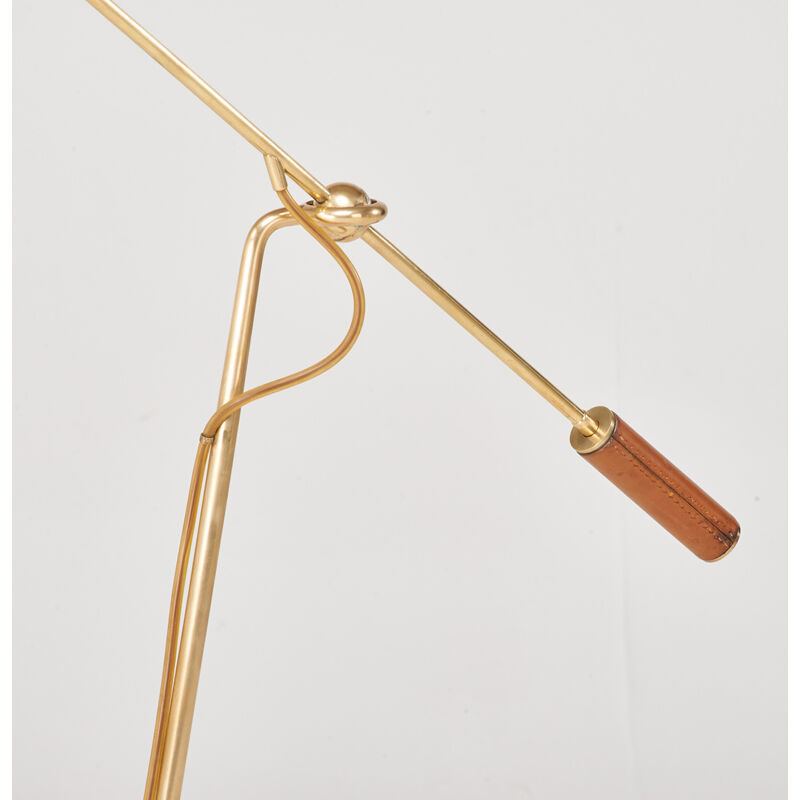 Angelo Lelii, 'Adjustable Floor Lamp, Italy', 1950s, Design/Decorative Art, Brass, enameled metal, leather, single socket, Rago/Wright