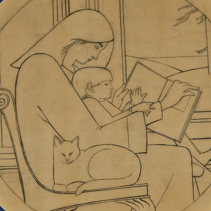 Will Barnet, 'Untitled Drawing (Mother Reading to Child with Cat)', 1986, Drawing, Collage or other Work on Paper, Pencil on vellum, The Modern Archive