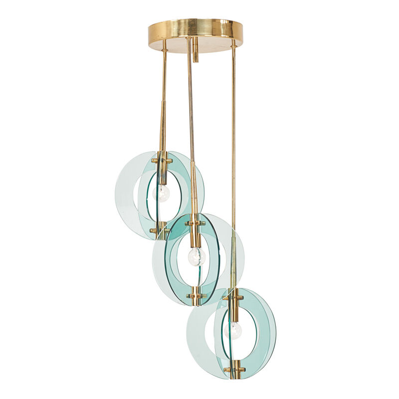 Fontana Arte, 'Chandelier, Italy', 1950s, Design/Decorative Art, Glass, Brass, Three Sockets, Rago/Wright