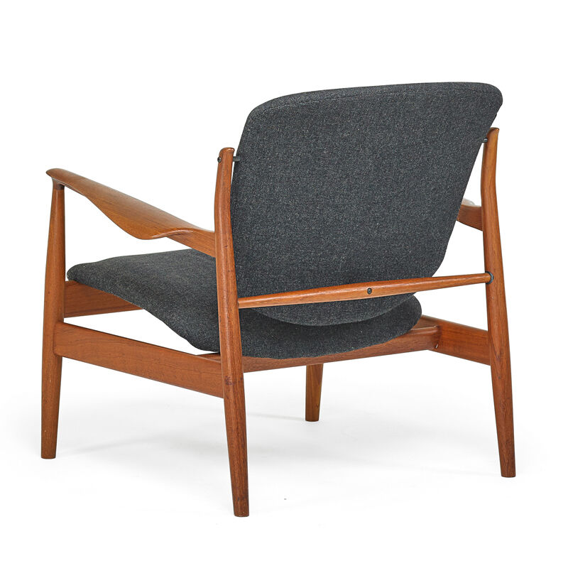Finn Juhl, 'Lounge Chair (No. 136), Denmark', 1950s, Design/Decorative Art, Teak, Brass, Upholstery, Rago/Wright