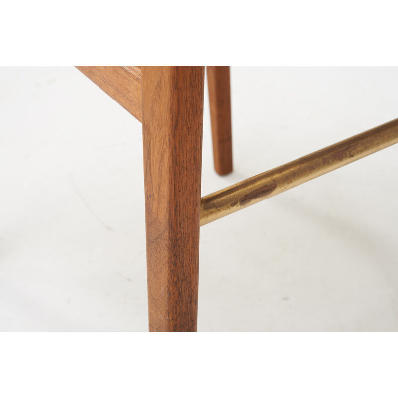 Jens Risom, 'Four Rare Barstools, Denmark', 1950s, Design/Decorative Art, Walnut, Brass, Vinyl, Rago/Wright