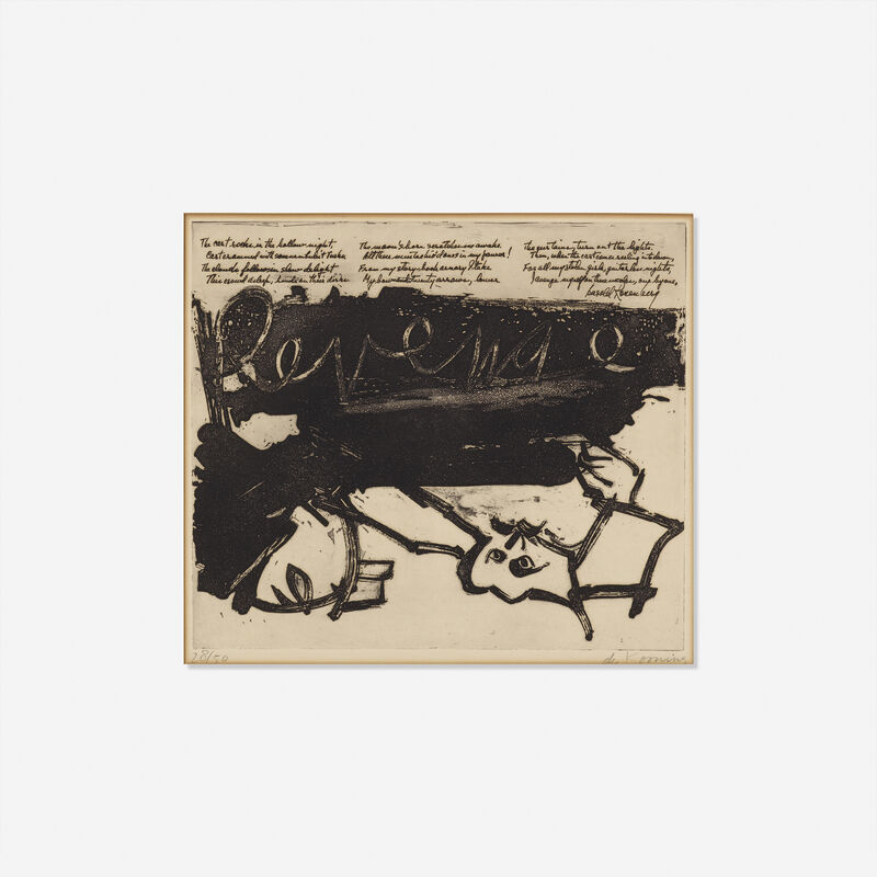 Willem de Kooning, 'Revenge, from 21 Etching and Poems', 1957, Print, Sugar-lift aquatint on BFK Rives, Rago/Wright