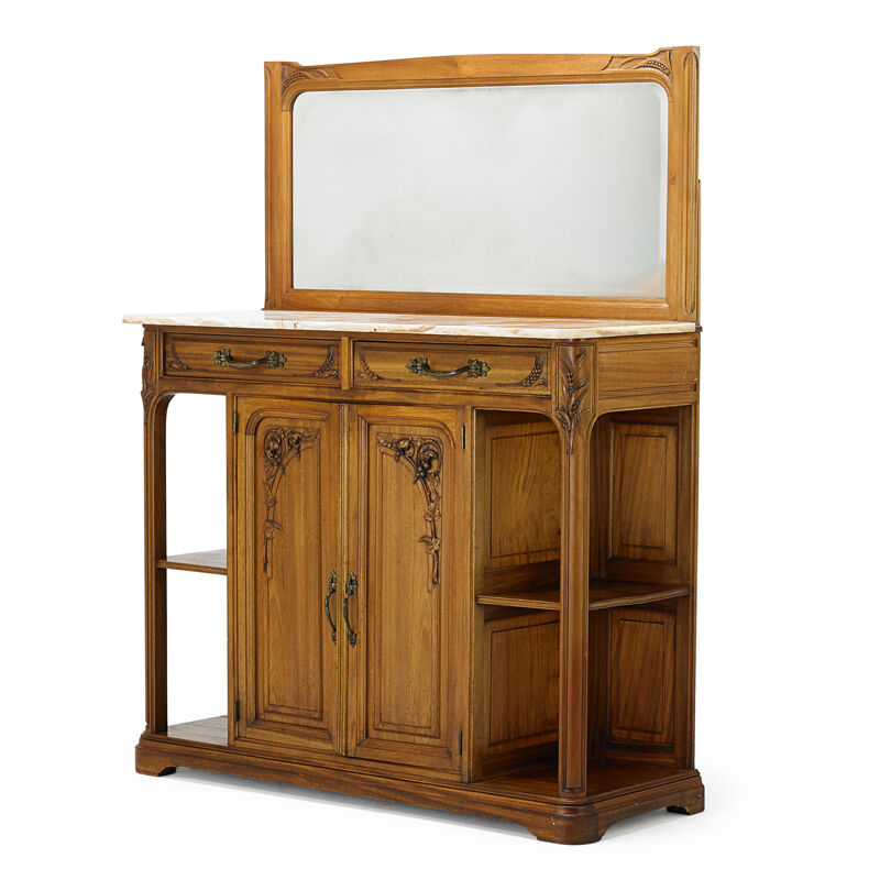French Art Nouveau, 'Sideboard', Early 20th C., Design/Decorative Art, Carved Mahogany, Patinated Metal, Onyx, Beveled Mirror, Rago/Wright