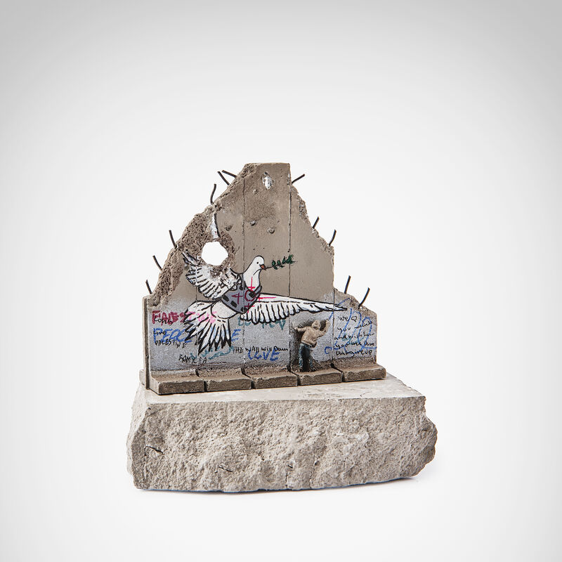 Banksy, 'Walled Off Hotel - Peace Dove', Sculpture, Five-part Souvenir Wall Section, hand-painted resin sculpture with West Bank Separation Wall base, Tate Ward Auctions