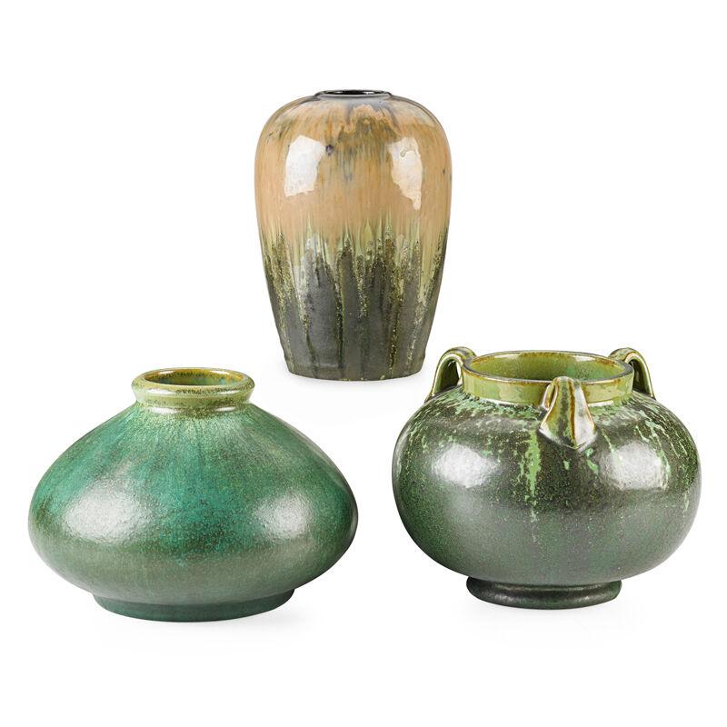Fulper Pottery, 'Three Vases (One Prang), Leopard Skin Crystalline, Cucumber Green and Experimental Flambé Glazes, Flemington, NJ', 1910s-20s, Design/Decorative Art, Rago/Wright/LAMA