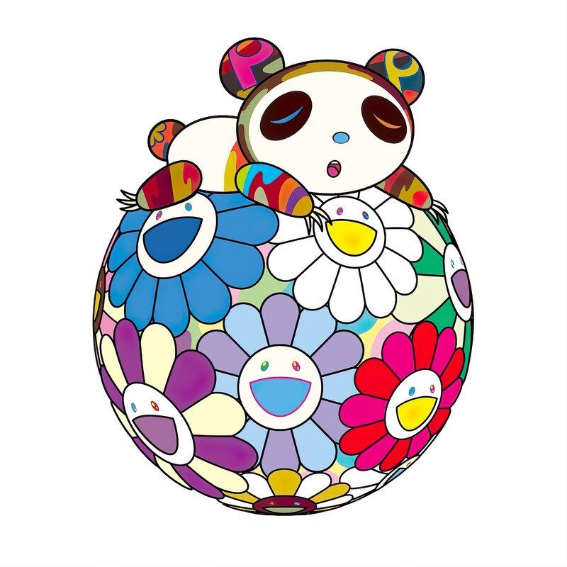 Takashi Murakami, 'Atop a Ball of Flowers, a Panda Cub Sleeps Soundly', 2020, Print, Silkscreen, Pinto Gallery