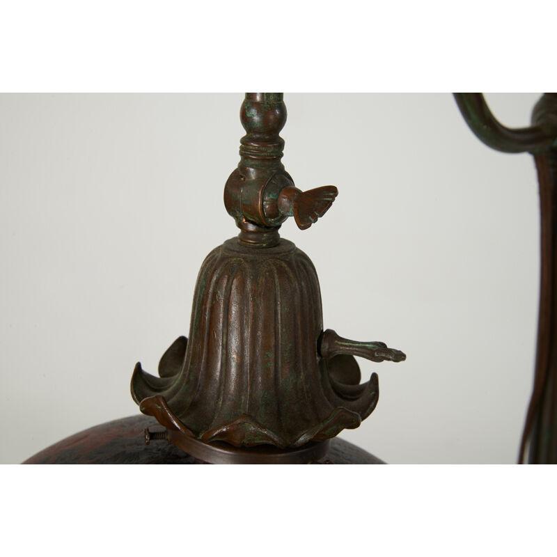 Handel, 'Adjustable Floor Lamp With Pheasant Shade, Meriden, CT', 1910s-20s, Design/Decorative Art, Patinated Metal, Reverse-Painted Acid-Etched Glass, Single Socket, Rago/Wright