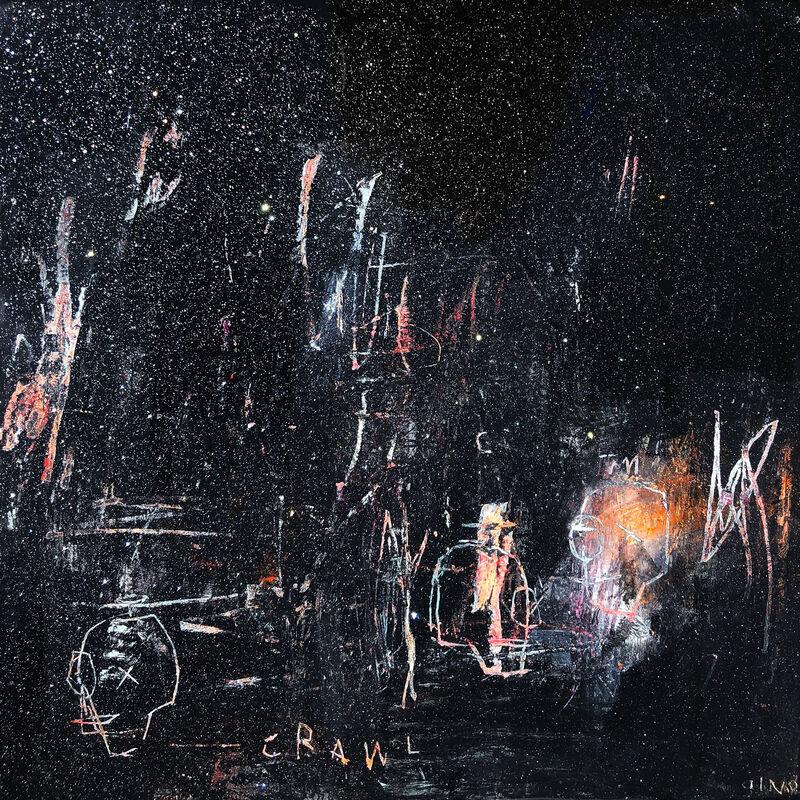 Gino Belassen, 'Nightcrawl', 2019, Painting, Acrylic, Spray Paint, Pastel, Glitter, Resin on Panel, Belhaus