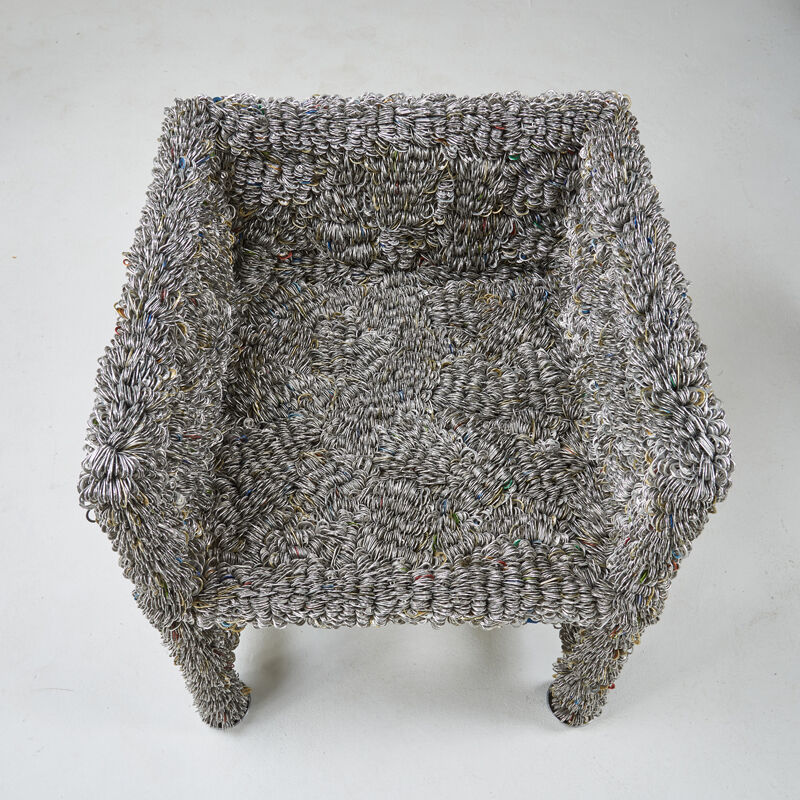 Clare Graham, 'Pop Top Arm- And Side Chair, Los Angeles, CA', 2000s, Design/Decorative Art, Tin can tabs over metal frames, Rago/Wright
