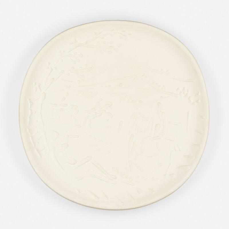 Pablo Picasso, 'Joueur de Flûte et Cavaliers', 1956, Textile Arts, White earthenware clay, Rago/Wright