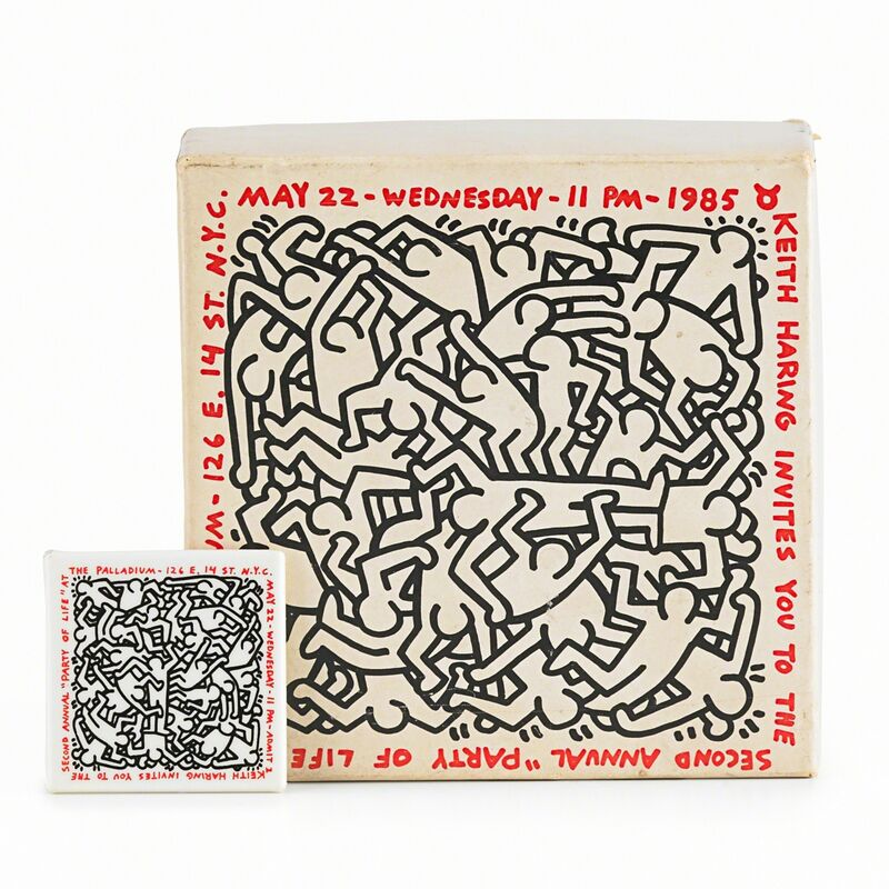 Keith Haring, 'Party of Life (At the Palladium)', 1985, Print, Screenprint in colors on Fruit of the Loom cotton tank shirt together with a puzzle and button, Rago/Wright