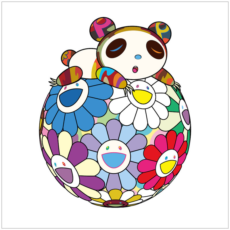 Takashi Murakami, 'Atop a Ball of Flowers, a Panda Cub Sleeps Soundly', 2020, Print, Silkscreen, Rite Gallery
