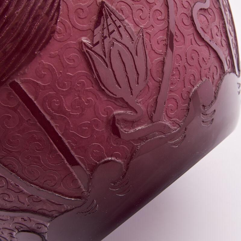 Steuben Glass, 'Steuben, Plum Jade Vase With Lotus Flowers, Corning, New York', 1920s, Design/Decorative Art, Acid-Etched Cased Glass, Rago/Wright