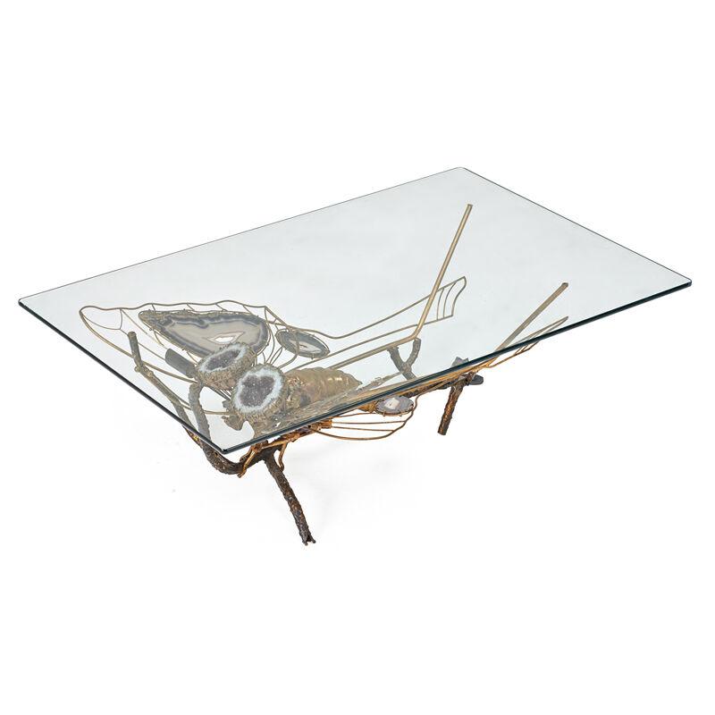 Henri Fernandez, 'Illuminated Sculptural Coffee Table, France', 1970s, Design/Decorative Art, Patinated Brass, Agate, Quartz Geode, Rago/Wright/LAMA
