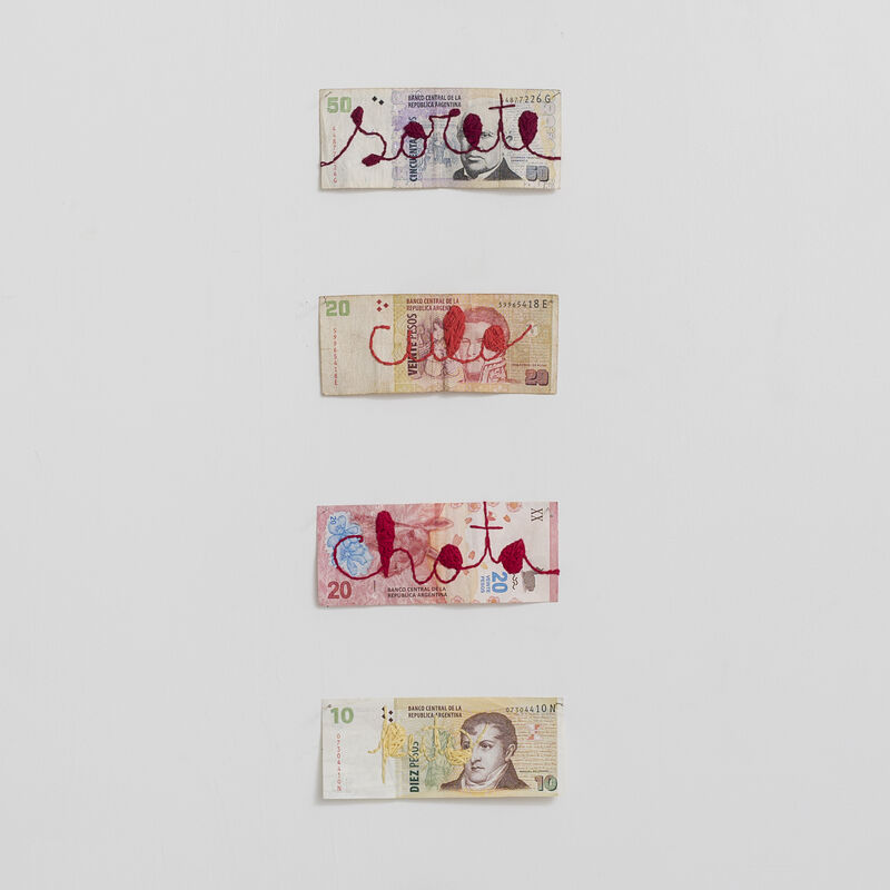 Lourival Cuquinha, 'Gratuitous Violence', 2018, Drawing, Collage or other Work on Paper, Embroidery on Argentine peso, Central Galeria