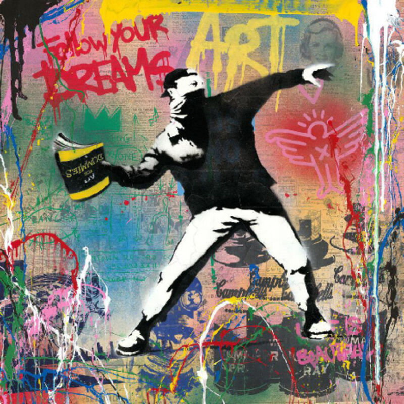 Mr. Brainwash, 'Banksy Thrower', 2019, Mixed Media, Silkscreen and mixed media on paper, New River Fine Art