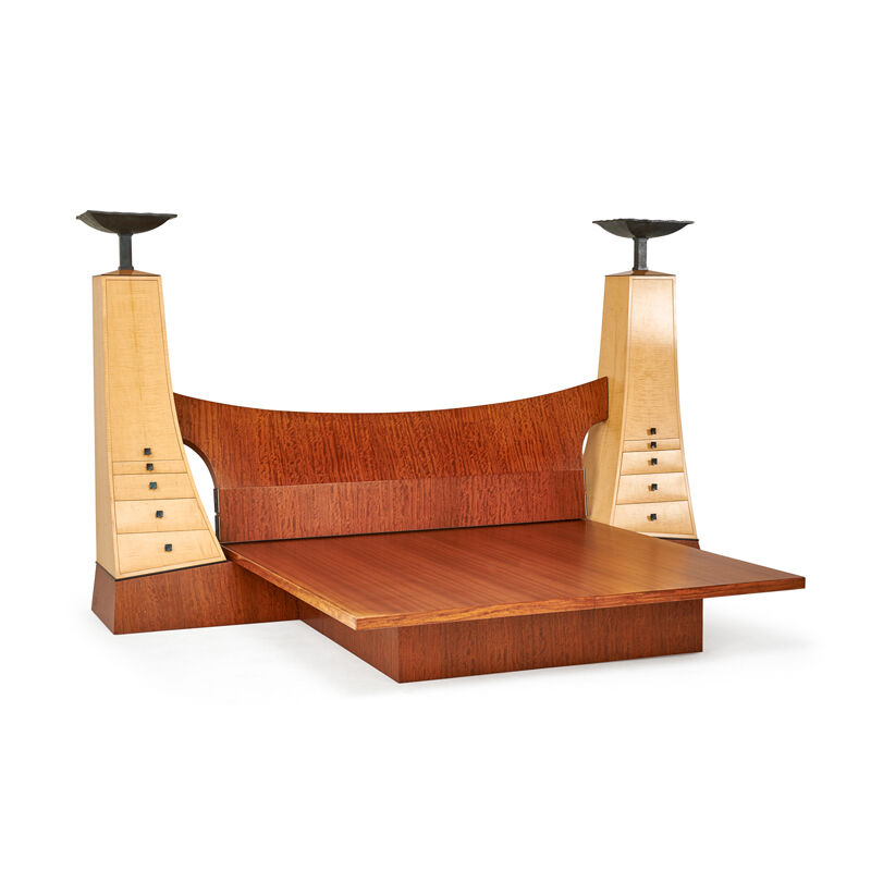 Wendell Castle, 'It'S Not Over Til It's Over King-Sized Platform Bed With Illuminated Cabinets, Rochester, NY', ca. 1990s, Design/Decorative Art, Bubinga, bleached curly maple, mahogany, ebony, patinated bronze, brass, two sockets, Rago/Wright