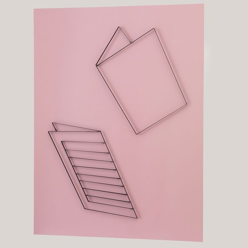 Yonatan Vinitsky, 'The Magic Riddle (Who opened the door?) 100%', 2013, Mixed Media, Black Elastic (21mm), Super Glue, Steel Nails (3.0 x 50mm) on Acrylic Paint Background (RAL 7035 -  Light Pink), Limoncello