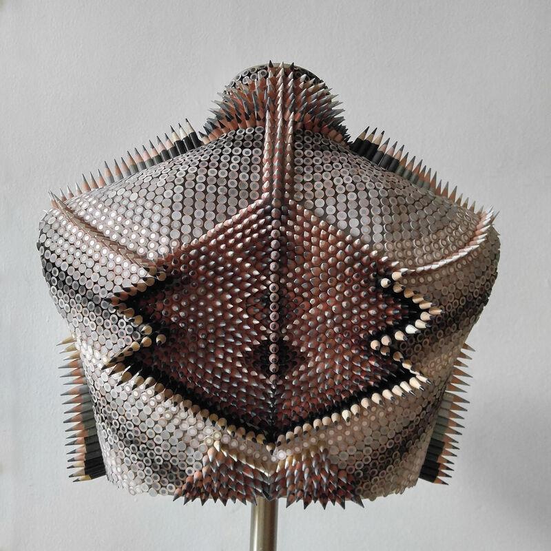 Molly Gambardella, 'Shame Shield', 2019, Sculpture, Colored pencils, wood, silicone, steel, bG Gallery