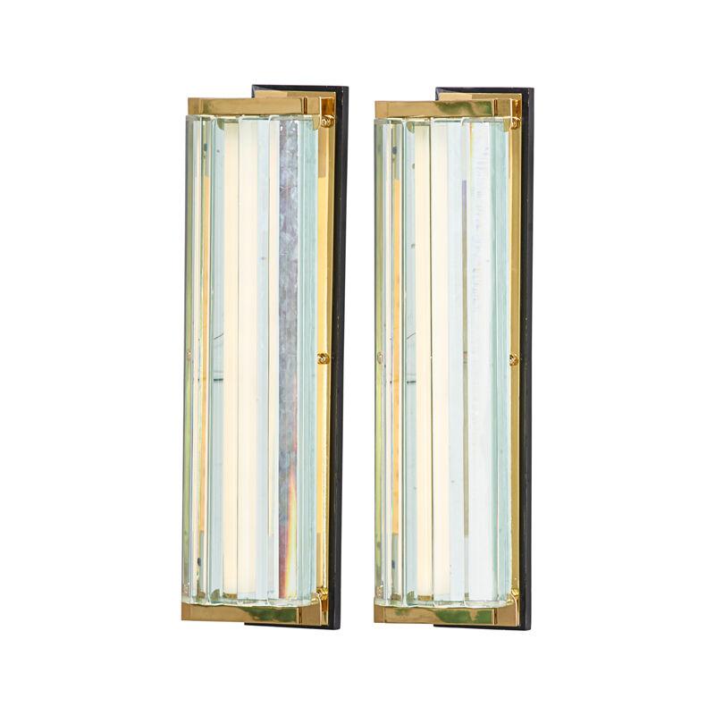 Fontana Arte, 'Pair Of Large Sconces, Italy', ca. 1950, Design/Decorative Art, Glass, Brass, Enameled Wood, Fluorescent Bulb, Rago/Wright