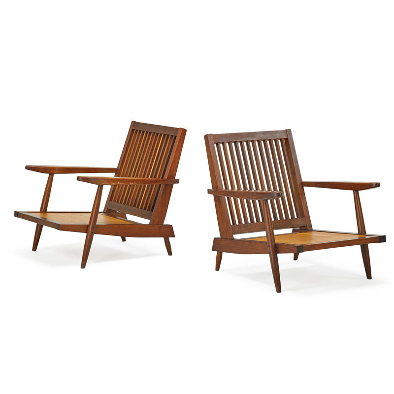 George Nakashima, 'Pair Of Cushion Lounge Chairs, New Hope, PA', 1959, Design/Decorative Art, Walnut, Rago/Wright