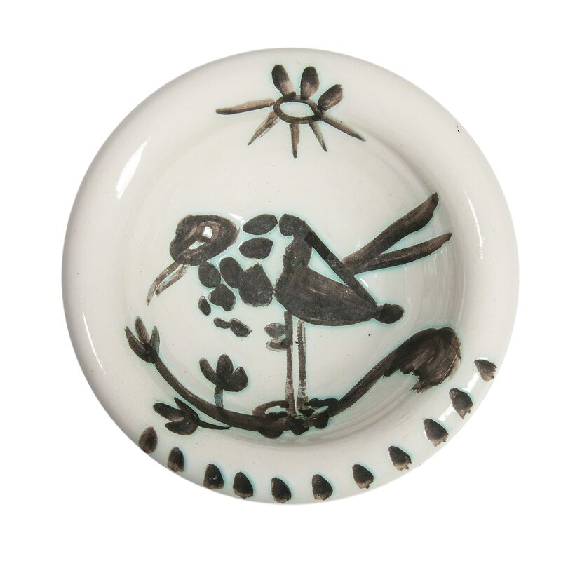 Pablo Picasso, 'Bird under the Sun', 1952, Design/Decorative Art, Turned round white earthenware low bowl glazed in white and matte black, Skinner
