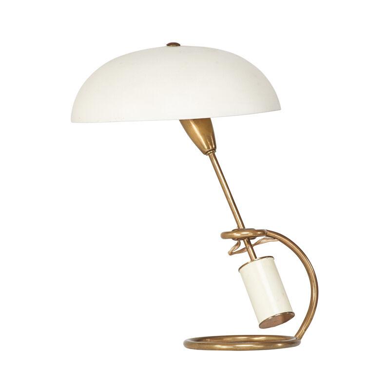 Angelo Lelii, 'Adjustable Table Lamp, Italy', 1950s, Design/Decorative Art, Enameled brass, brass, enameled aluminum, single socket, Rago/Wright