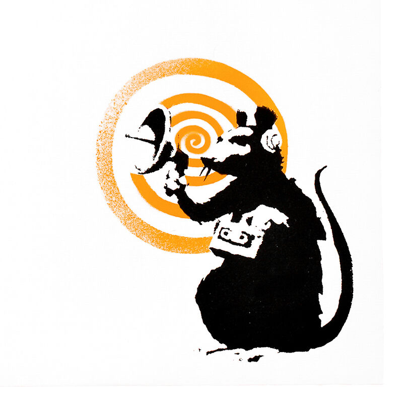 Banksy, 'DIRTY FUNKER RADAR RAT (Orange Cover Album) ', 2008, Print, Silkscreen in black and orange colors on record album cover, both sides and on vinyl record., Silverback Gallery