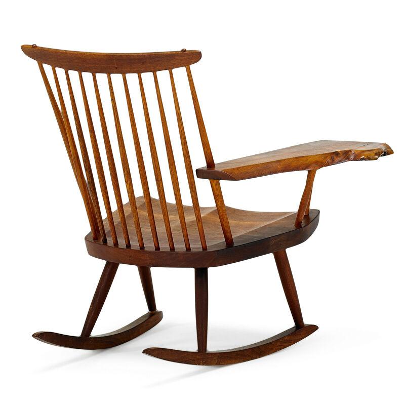 George Nakashima, 'Lounge Chair Rocker With Arm, New Hope, PA', 1978, Design/Decorative Art, Walnut, Hickory, Rago/Wright