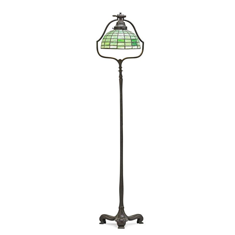 Handel, 'Floor Lamp, Meriden, CT', 1910s-20s, Design/Decorative Art, Patinated Metal, Leaded Slag Glass, Single Socket, Rago/Wright