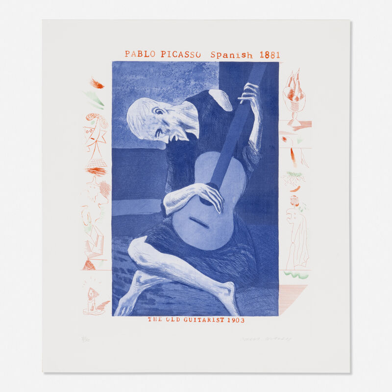 David Hockney, 'Old Guitarist from The Blue Guitar portfolio', 1976-77, Print, Etching and aquatint in colors, Rago/Wright
