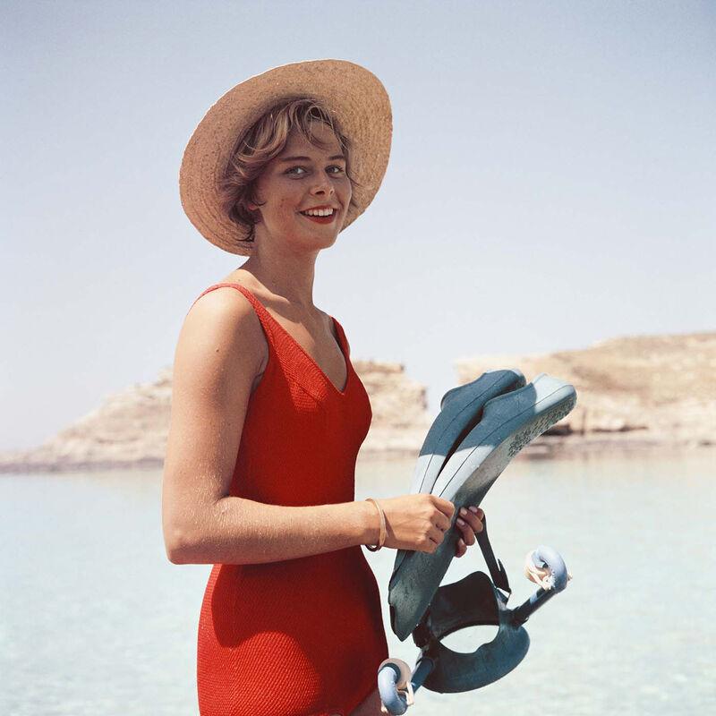 Slim Aarons, 'Marietine Birnie, Blue Lagoon, Kemmuna (Slim Aarons Estate Edition)', 1959, Photography, Chromogenic Lambda Print, Undercurrent Projects