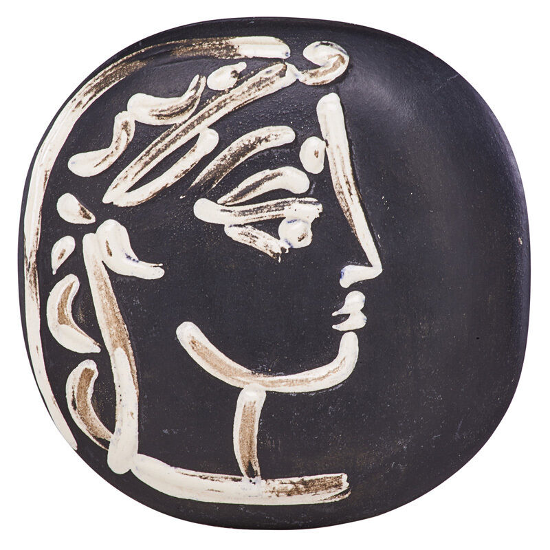 "Pablo Picasso, 'Wall-hanging convex plaque, ""Jacqueline's Profile (Profil de Jacqueline),"" edition of 500, France', des. 1956, Design/Decorative Art, Glazed earthenware, Rago/Wright"