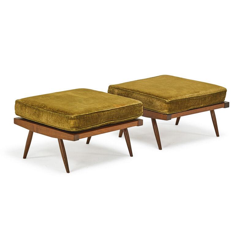 George Nakashima, 'Pair Of Ottomans, New Hope, PA', 1968, Design/Decorative Art, Walnut, Upholstery, Rago/Wright