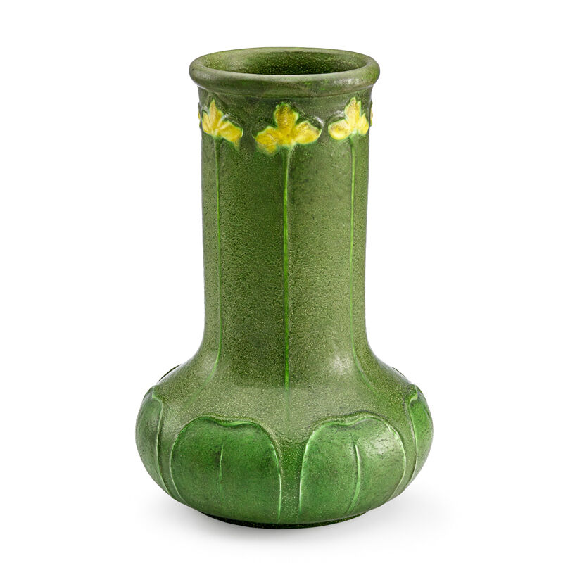 Wilhelmina Post, 'Grueby, Fine And Tall Vase With Yellow Irises, Boston, MA', ca. 1900, Design/Decorative Art, Fine And Tall Vase With Yellow Irises, Rago/Wright/LAMA