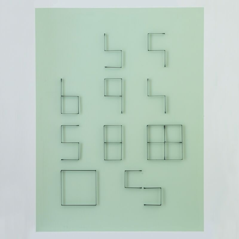 Yonatan Vinitsky, 'From Knowledge to the Hypothesis From what fortitude?) 100%', 2013, Mixed Media, Black Elastic (21mm), Super Glue, Steel Nails (3.0 x 50mm) on Acrylic Paint Background (RAL 7035 - Pastel Green), Limoncello